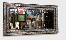 Crackle Clear Glass Mosaic Wall Mirror Black Double Frame Handmade 128X68cm New