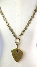 Antique Victorian Gold Front Book Chain Necklace Pendant Lg Locket Paste RARE