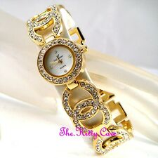 Ladies Gold Plt Designer Dress Double Kiss Bling Mop Watch W/ Swarovski Crystals