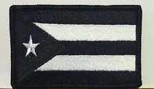 PUERTO RICO Flag Patch With VELCRO® Brand Fastener Military Emblem B & W  #7