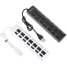 Alto velocità 7 Porte LED USB 2.0 Adattatore Hub Potere su/off Interruttore Per