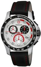 WENGER SPORT CHRONOGRAPH SILVER DIAL BLACK LEATHER STRAP MENS WATCH 70791 NEW