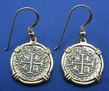 14K Solid Gold Shipwreck Coin Styled Earrings with French Wires Anne Bonny