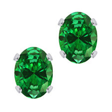 925 Silver 1.60 Ct Oval Cut Simulated Emerald Stud Earrings 6x