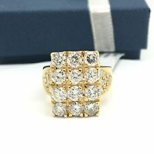18k Yellow Gold Large Rectangular Ring April Birthstone Domino Style