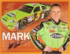 2010 MARK MARTIN signed NASCAR PHOTO CARD POSTCARD GoDADDY.COM RACING TEAM wCOA