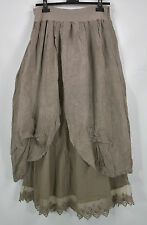 SARAH SANTOS 100% LINEN  hitched  double layer   skirt in MOCHA  size XL/XXL