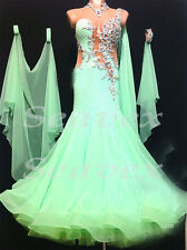 Women Standard Smooth Ballroom Waltz Tango Dance Dress US 10 UK 12 Flesh Green