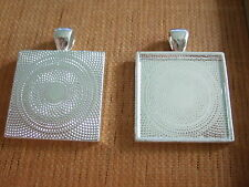 "10 Silver Plated 1"" Square 25mm Pendant Photo Frame Fit Cameo Cabochon Settings"