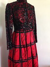 ALFRED BOSAND COUTURE RED CHIFFON AND BLACK SEQUIN DRESS