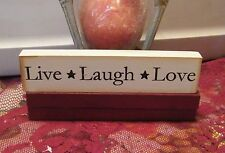 """8"""" Country wood message block LIVE LAUGH LOVE inspIrational Shelf Sitter Sign"""