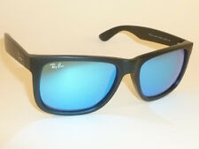 New RAY BAN Justin Sunglasses Matte Black Rubber RB 4165 622/55 Blue Mirror 51mm