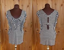 NEXT  black cream stripe frill cut-out bow back long tunic dress-top 10 38