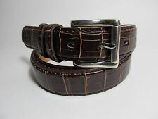 "Men New Dark Brown Leather Belt with Silver Buckle 34"" #9008"