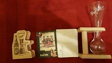 PAUWEL KWAK  Glass w/Wood Stand  with coasters holder & coasters  & 4 posters.