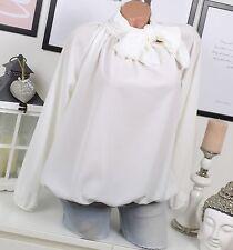ITALY Chiffon BLUSE Tunika SCHLEIFE Vintage Ballon Weiß 36 38 40 Elegant
