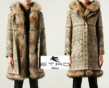 Original Etro fur coat (Black and beige color, rabbit and racoon lining)