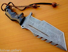 CUSTOM DAMASCUS STEEL HUNTING TRACKER KNIFE / BOWIE / DAGGER / SWORD / MICARTA
