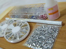 Nail Art Starter Kit Rhinestone Gem Crystal Ab Glitter Metalic Set Glue Brush On
