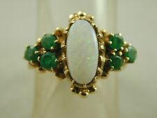OPAL & EMERALD VINTAGE 9CT GOLD RING DATED 1975 SIZE J 0.55 CARATS 3.7g oot