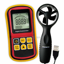 Anemometer Thermometer Wind Speed Velocity Temp USB Probe 0~45m/s Bar Graph Surf