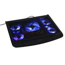 "5 Fan USB Blue LED 10-17"" Laptop Notebook Cooling Cooler Anti-Slip Stand Pad"