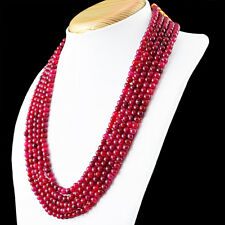549.00 Cts Earth Mined Rich Red Ruby 5 Line Round Shape Beads Hand Made Necklace