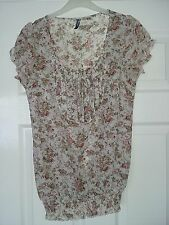 E-vie ladies cream beige pink floral polyester top front panel frill sleeves 8