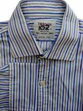 TM LEWIN 100 Shirt Mens 15.5 M White – Blue & Grey Stripes