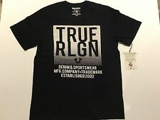 TRUE RELIGION MEN T-SHIRT SCOREBOARD CREW NK BLACK PREMIUM QUALITY NWT XL $68