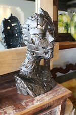 "22"" H Female head solid iron beautiful unique sculpture vintage brass finish"
