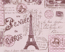 Parato cameretta Parigi romantico e vintage stampa con tour eiffel francobolli a