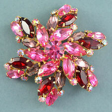 Vintage Brooch JULIANA Large 1960s Pink Red & Lilac Crystal Goldtone Jewellery