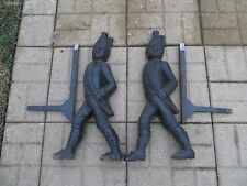 Antique Fireplace Cast Iron Andirons Hessian Soldiers w/Swords & Supports