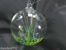 "Hanging Glass Ball 4"" Diameter Yellow & Aqua Tree Witch Ball (1) HB38-1"