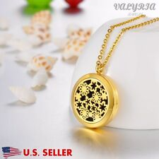Gold Flower Patch Aromatherapy Perfume Essential Oil Diffuser Necklace Locket