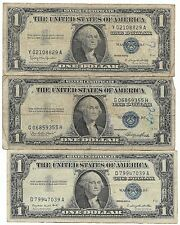 100% Rare Very Old Antique 1935 1957 US Silver Certificate Big Dollar Bill Lot