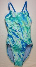 Nike Acid Wash Cut Out Tank Swimsuit 24 Womens Open Back One Piece Blue Lagoon