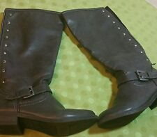 Girls Candies zipdown grey leather insulated boots size 4 grey