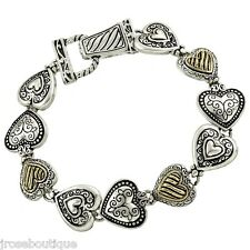 VALENTINES DAY 925 SILVER GOLD MAGNETIC HEART BRACELET ANGEL CHARM WEDDING LOVE