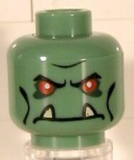 LEGO - Minifig, Head Troll with Red Eyes & Lower Fangs Pattern - Sand Green