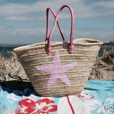 Moroccan Pink Sequin Star Fish Beach Shopping Holiday Pool Picnic Basket Bag