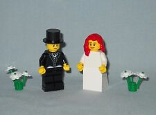 NEW LEGO WEDDING RED HAIR BRIDE AND GROOM IN TUX WITH TOP HAT MINIFIGURES