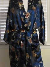Vintage Solz Squirrel Chinese Robe Kimono Navy Blue Floral With Belt Dry Cleaned