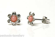 9ct White Gold Coral Flower Stud Earrings Gift Boxed Made in UK
