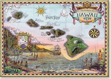 Hawaiian Art Collectible Refrigerator Magnet - Map of Old Hawaii by S.Strickland