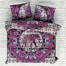 Indian Elephant Mandala Bedspread Queen Wall Hanging Cotton Tapestry Blanket Set