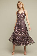 Anthropologie embroidery Tansey Tulle Midi Dress By Moulinette Soeurs Sz 14 $298