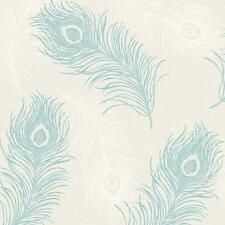 DEBONA VIOLA FEATHER PATTERN GLITTER MOTIF BIRD TEXTURED VINYL WALLPAPER TEAL