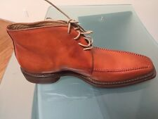 Cognac color leather lace up boot for men-Made in Italy